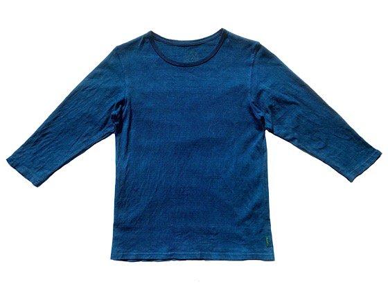 enishii|七分袖 Tee| ヘンプコットン|本藍染め|無地|中色|サイズM