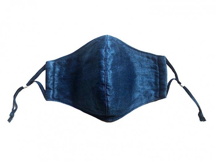 三宅商店×ビバーク|麻マスク|ヘンプシルク|おもて面シルク|本藍染め|無地|濃色