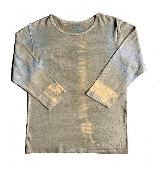 冨貴工房|自然染め ヘンプコットン 長袖Tシャツ|ベンガラ(鬱金)と藍錠|サイズ L