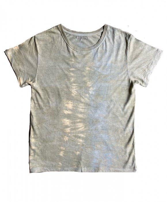 冨貴工房|自然染め ヘンプコットン Tシャツ|ベンガラ(鬱金)と藍錠|サイズ M