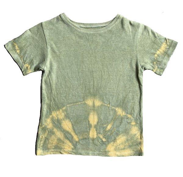 冨貴工房|自然染め ヘンプコットン Tシャツ|KIDS Mサイズ|ベンガラ(鬱金)と胡粉と藍錠