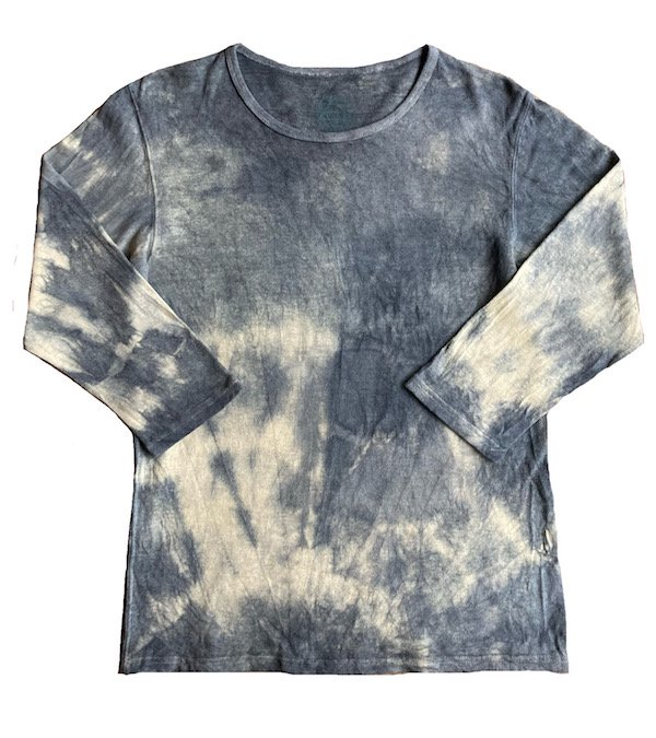 冨貴工房|自然染め ヘンプコットン 八分袖Tシャツ|Lサイズ|ベンガラ(鬱金)と胡粉と藍錠と麻炭|[イ]