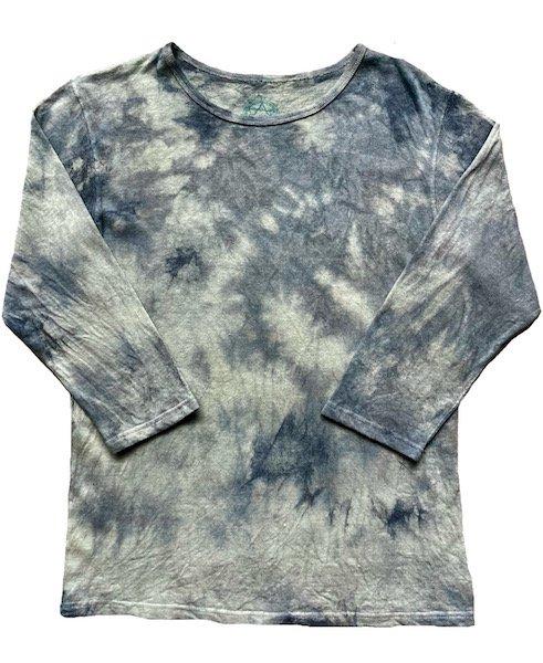 冨貴工房|自然染め ヘンプコットン 八分袖Tシャツ|Lサイズ|ベンガラ(鬱金)と胡粉と藍錠と麻炭|[ロ]