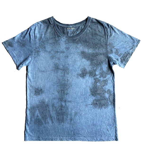 冨貴工房|自然染め ヘンプコットン 半袖Tシャツ|Lサイズ|藍錠と麻炭(コズミックヘンプ)