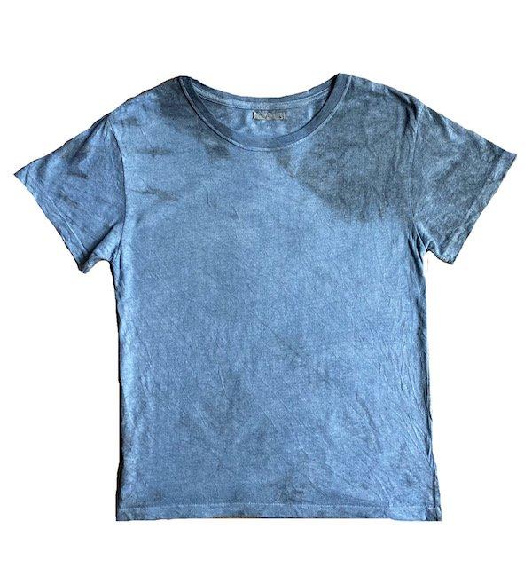 冨貴工房|自然染め ヘンプコットン 半袖Tシャツ|Mサイズ|藍錠と麻炭(コズミックヘンプ)