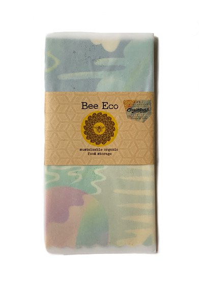 "Bee Eco Wrap|天然素材のラップ|Lサイズ [約31×33cm]|ヘンプ×オーガニックコットン|日本限定アーティストシリーズ Gravityfree ""Circle of Life"""