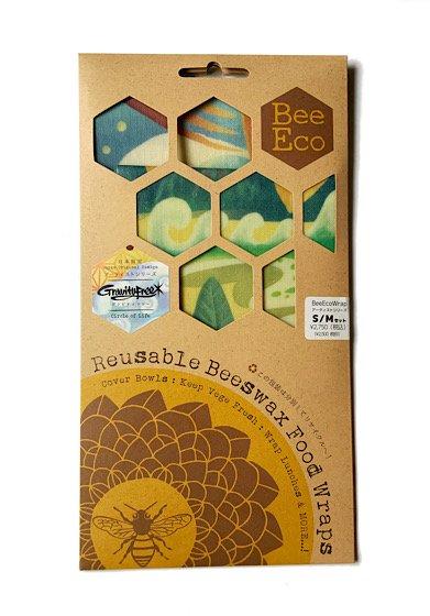 "Bee Eco Wrap|天然素材のラップ|S/Mセット|ヘンプ×オーガニックコットン|日本限定アーティストシリーズ Gravityfree ""Circle of Life"""