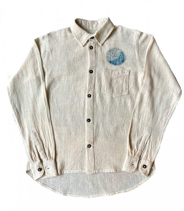 ビバーク|ヘンプコットン手織りシャツ|藍染め|Sサイズ|「あ」