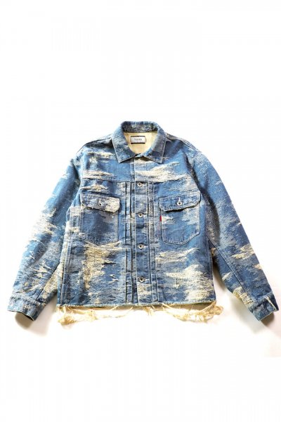 <img class='new_mark_img1' src='//img.shop-pro.jp/img/new/icons2.gif' style='border:none;display:inline;margin:0px;padding:0px;width:auto;' />CONTRAST DENIM JACQURD JACKET(ONE WASH)