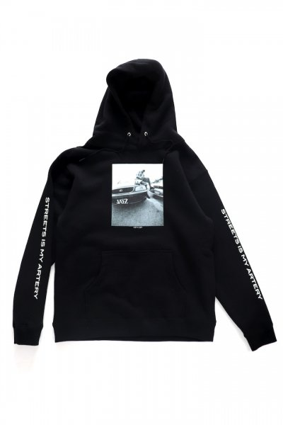 <img class='new_mark_img1' src='//img.shop-pro.jp/img/new/icons2.gif' style='border:none;display:inline;margin:0px;padding:0px;width:auto;' />STREET IS MY ARTERY SWEAT HOODIE(BLACK)