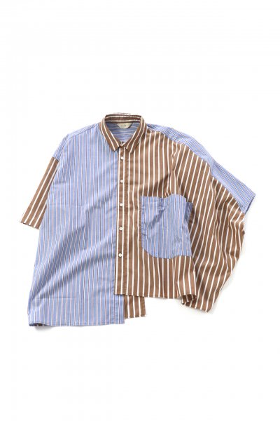 <img class='new_mark_img1' src='https://img.shop-pro.jp/img/new/icons2.gif' style='border:none;display:inline;margin:0px;padding:0px;width:auto;' />STRIPE ASYMMETRY SHIRT(BLUE/BEIGE)