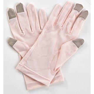 夜美容潤いシルク  おやすみ手袋 ピンク
