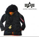 <img class='new_mark_img1' src='//img.shop-pro.jp/img/new/icons16.gif' style='border:none;display:inline;margin:0px;padding:0px;width:auto;' />ALPHA industries アルファインダストリーズ  モッズコート ブラック SLIM FIT N-3B アウター ジャケット ミドル丈