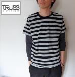 TRUSS トラス ボーダーTシャツ ブラック×グレー