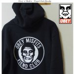 <img class='new_mark_img1' src='https://img.shop-pro.jp/img/new/icons1.gif' style='border:none;display:inline;margin:0px;padding:0px;width:auto;' />OBEY Misfits プルオーバーパーカー ブラック 黒 Misfits Fiend Club Hoodie オベイ ミスフィッツ コラボパーカー バックプリント