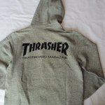 THRASHER ジップパーカー バックプリント グレー スラッシャー MAG FRENCH TELLY ZIP PARKA VINTAGE HEATHER/BLK TH8600FT