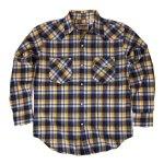 CAMCO カムコ 長袖 ボタンシャツ チェックシャツ ネイビー×イエロー マドラスウエスタンシャツ メンズ