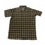 CAMCO カムコ 半袖 ボタンシャツ チェックシャツ ブラウン マドラスオープンシャツ メンズ レディース 古着好きに 2020