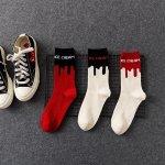 メンズ ソックス アイスクリーム 柄 3カラー展開 ブラック ホワイト レッド マルチカラー ユニセックス 靴下 プレゼントにも 24cmから26cm