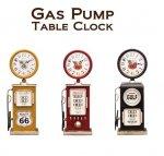 置時計 テーブルクロック ガスポンプ アメリカン雑貨 レトロ モダン シンプル 新生活 ライフスタイル 卓上 机 棚時計 イエロー ブラック レッド