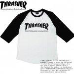 THRASHER/スラッシャー MAG 七分袖Tシャツ ラグラン ホワイト/ブラック/ブラック