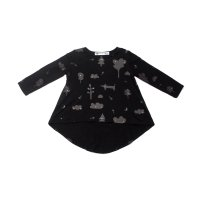 50%Off!!◇OMAMIMINI◇High-low Girls Tunic with Secret Forest Print | Black (1T, 2T, 3T, 4, 5)
