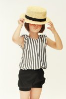 MOTORETA◇Violeta Blouse Black & White stripes (4y, 5y, 6-7y)