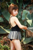 MOTORETA◇Swimsuit. Black with Silver Frill (3y, 5y, 6-7y)
