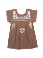 Apolina◇ 'JANE' DRESS - TAWNY-BROWN WITH IVORY EMBROIDERY (S,M,L)