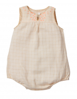 50%Off! Bonheur du Jour Paris◇Star, baby overall, golden checks (3M, 6M, 12M)