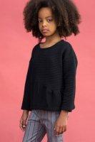 Last1!! 70%Off!! MOTORETA◇LENI Sweatshirt Black textured (18m, 24m, 3y, 4y, 5y)