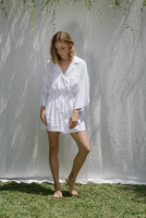 <img class='new_mark_img1' src='//img.shop-pro.jp/img/new/icons14.gif' style='border:none;display:inline;margin:0px;padding:0px;width:auto;' />at Dawn.◇Linen Shirt Romper (White)