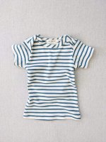 mabo◇ organic cotton lap tee short sleeve striped nautical tee - natural/azure