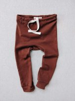 mabo◇ organic cotton drawstring striped leggings - chestnut