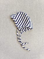 mabo◇ organic cotton bonnet - natural/blue stripe