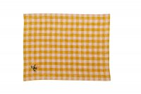 PROJEKTITYYNY◇ gingham embroidered placemat/napkin, mustard