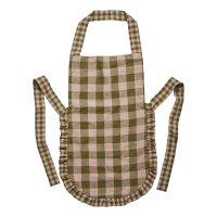 PROJEKTITYYNY◇ Leinikki gingham linen frill apron, olive