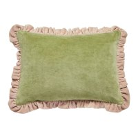 PROJEKTITYYNY◇ Leinikki velvet frill cushion, olive,  cover only
