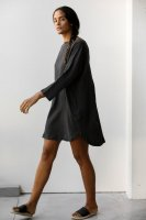 <img class='new_mark_img1' src='https://img.shop-pro.jp/img/new/icons14.gif' style='border:none;display:inline;margin:0px;padding:0px;width:auto;' />at Dawn.◇ Boatneck Relax Short Dress, Black Ink