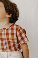 FIN & VINCE◇ button up - picnic plaid w/ cherry embroidery