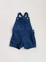 mabo◇ frankie overall shorts in washed cotton denim