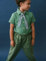 mabo◇ buttondown shirt in basil cotton gauze
