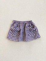 mabo◇ frances skirt in aubergine crinkle gingham