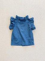 mabo◇ loulou blouse flutter sleeve in blue polka dot
