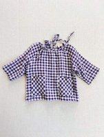 mabo◇ gemma blouse in aubergine crinkle gingham