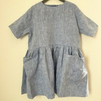 <img class='new_mark_img1' src='https://img.shop-pro.jp/img/new/icons14.gif' style='border:none;display:inline;margin:0px;padding:0px;width:auto;' />◇AS WE GROW◇ Pocket Dress Short Sleeve (Blue Linen)