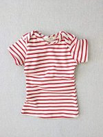 <img class='new_mark_img1' src='https://img.shop-pro.jp/img/new/icons14.gif' style='border:none;display:inline;margin:0px;padding:0px;width:auto;' />mabo◇ organic cotton lap tee short sleeve striped nautical tee - natural/scarlet