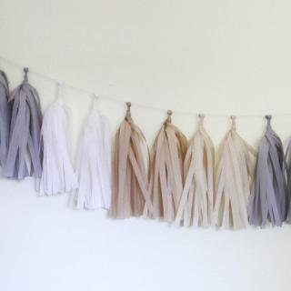 Tissue Paper Tassel Garland Kit (Natural)