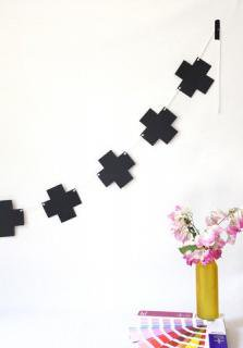 Solid Black Cross + Plus Garland