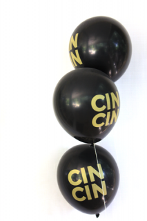Black and Gold CIN CIN balloons
